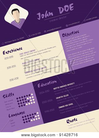 Modern Curriculum Vitae Resume With Purple Stripes