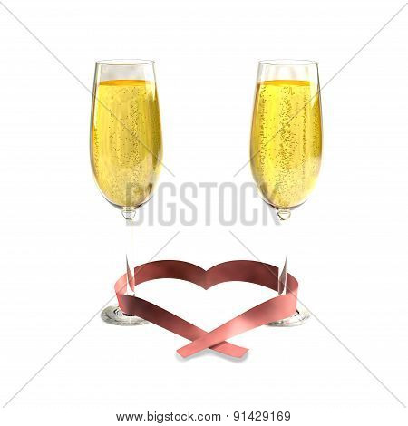 Two glasses of good champagne and a ribbon heart shaped