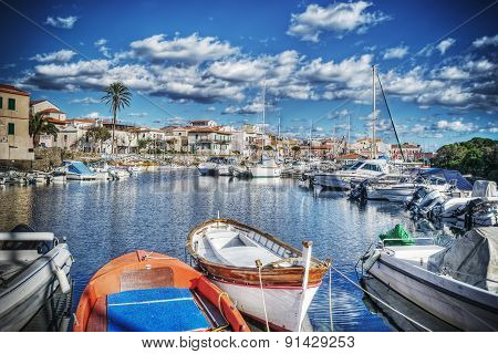 Wooden Boats In Stintino Harbor In Hdr