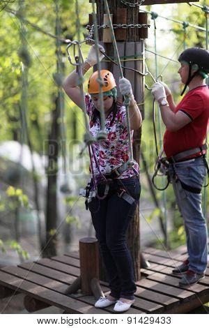Couple Training In Adventure Park
