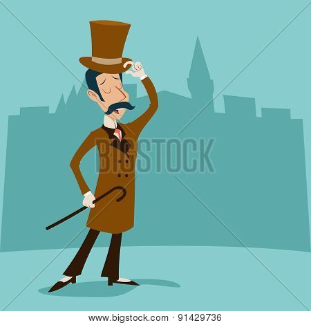 Vintage Great Britain Victorian Gentleman Businessman Cartoon Character Icon on Stylish English City