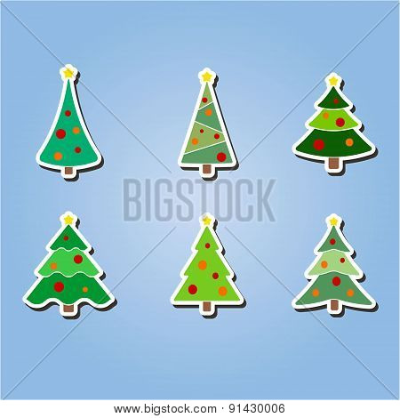 set of color icons with  Christmas trees