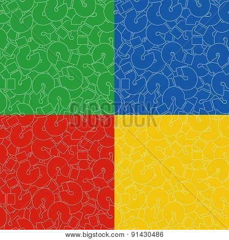 Seamless Background Of Questions Mark. Help Symbol. Set Of Backgrounds In Yellow, Red, Blue, And Gre
