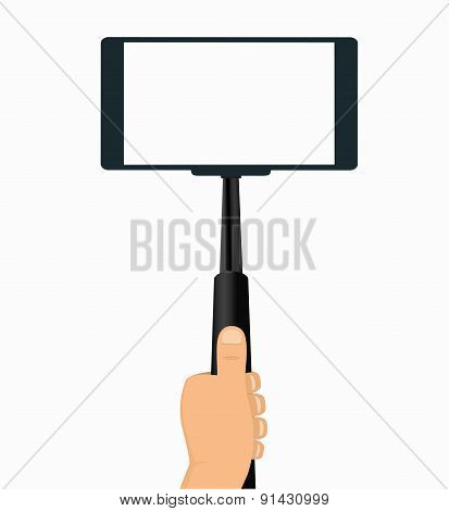 Monopod In Hand Taking Selfie On A Mobile Phone, Tool For Phones   On White Background