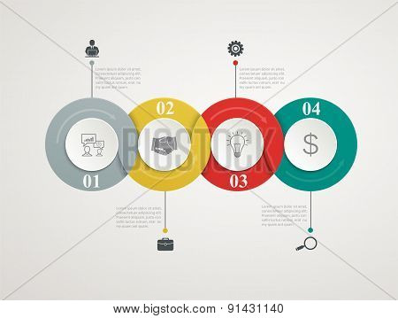 Abstract Circles Parts Infographic With Step By Step Structure. Template Diagrams, Presentation And
