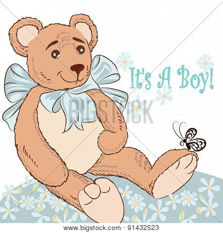 Birthday Greeting Card With Plush Bear And Flowers It Is A Boy