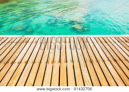Wooden Walkway Bridge At Coast