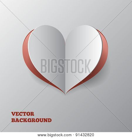 Abstract paper hearts over grey background