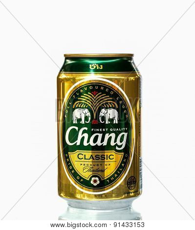 Phichit, Thailand -april 14, 2015:chang Beer On White Background Produced Of Thailand,thai People Li