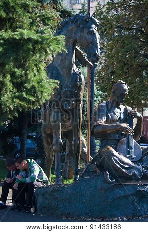 Ukraine, Kiev - September 9.2013 Independence Square. Monument To One Of The Most Popular Heroes Of