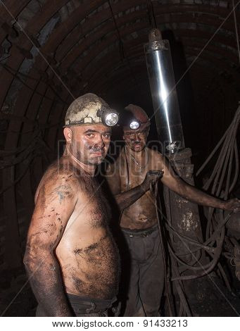 Novogrodovka, Ukraine - January, 18, 2013: The Miners In The Mine