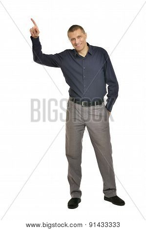 Man pointing up
