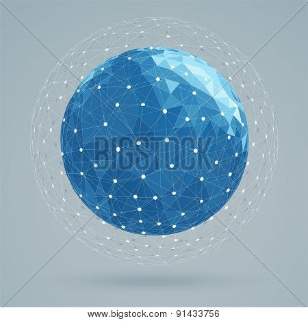 Geometric Abstract Structure Blue Colors, Mesh White Color