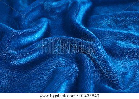 Blue Wrinkled Velvet