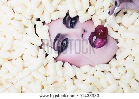 Tempting Girl In Corn Sticks Heap