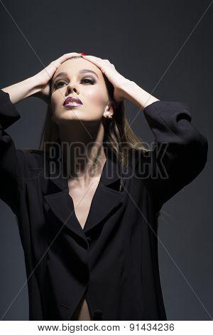 Alluring Tender Woman In Long Black Tunic