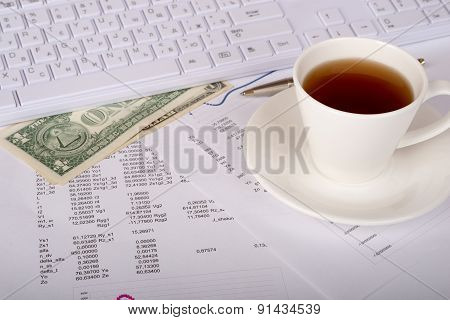 White keyboard with dollars