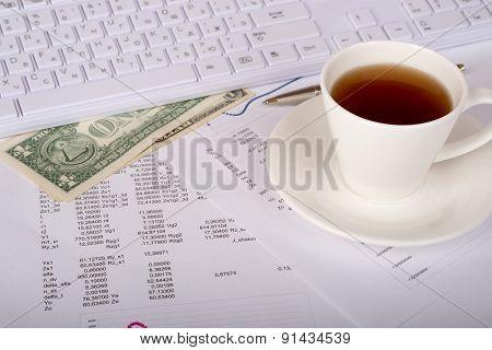 White keyboard with dollars