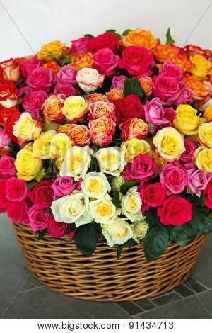 nice roses in the basket