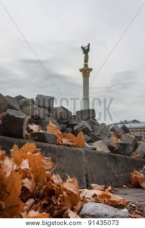 Independence Square in Kiev, after the revolutionary turmoil. Ukraine