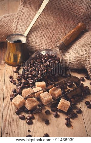 The ingredients and utensils for making coffee