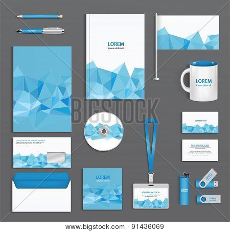 Blue Corporate Id Template  With Triangular Faces, Company Style, Abstract Of Design Elements. Busin