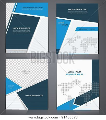 Set Of Blue Business Brochures  In One Style With Pixel World Map,  Flyer Design Template In A4 Size