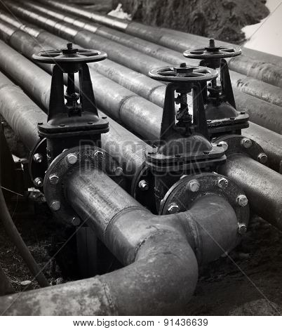 Oil and gas pipe line valves. Black and white