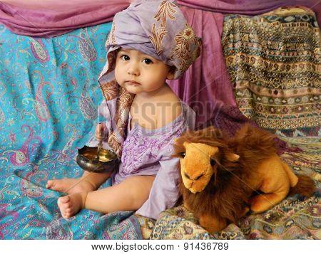 Baby boy in Asian Interior
