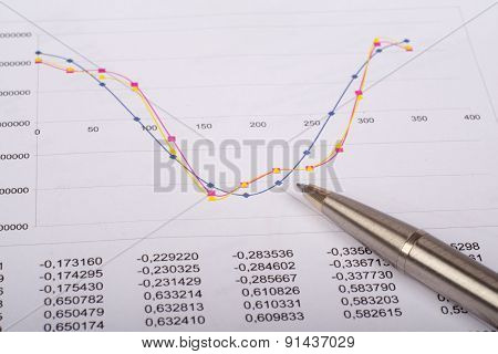 Document with graphs and pen