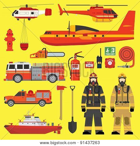 Fire Brigade Equipment Infographics Set with aircrafts, helicopters, fireengines and tools
