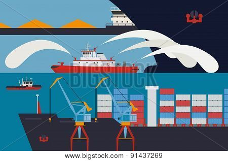 Fireboat In The Harbour, Tugs and Cargo, Shipping and delivery