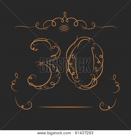 Anniversary 30th signs collection in classic style. Template of anniversary, birthday and jubilee em