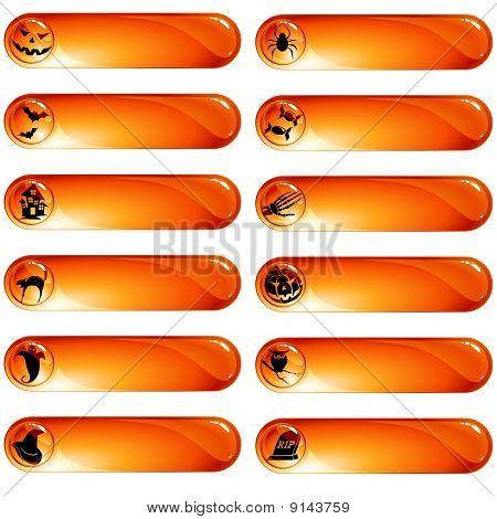 Set of 12 orange halloween labels