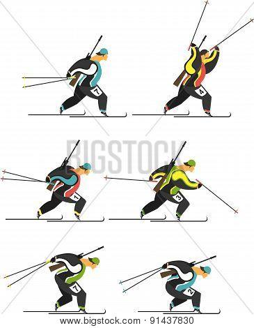 Set Biathlon Skiers