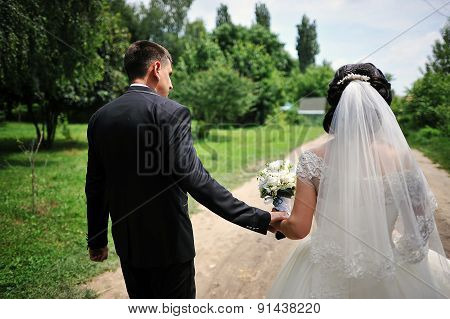 Newlywed Holding Hands Back View