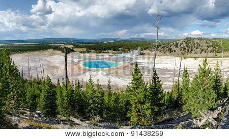 Panoramic Scenic View Of Grand Prismatic Spring In Yellowstone, Usa