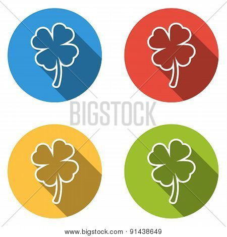 Collection Of 4 Isolated Flat Buttons (icons) For Four Leaf (shamrock)