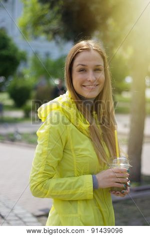 Girl Holding A Lemonade Outdoor