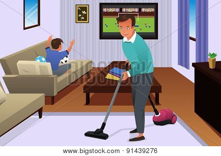 Father Vacuuming The Carpet In The House