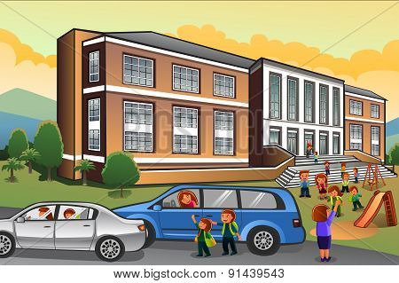 Parents Picking Up Kids From School