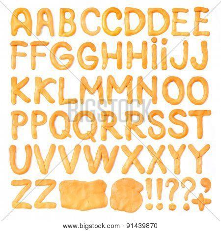 Orange plasticine alphabet