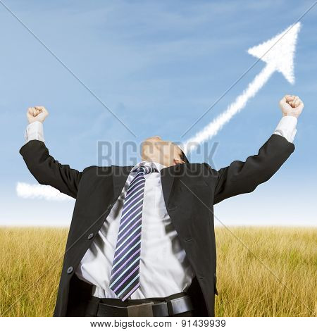Businessman Celebrate His Success Outdoors