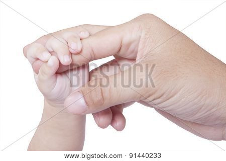 Child Hand Holds Father Finger