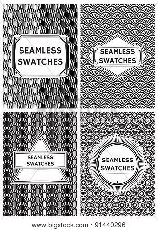 Set Vector Template With Seamless Swatches In Retro Style For Packaging