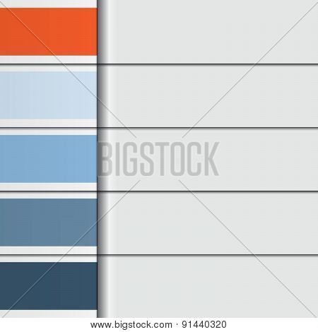 Illustration Template, From Horizontal Strips With Text Areas For Five Options