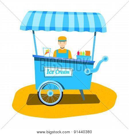Vendor ice cream. Ice cream cart. Flat vector illustration for your design.