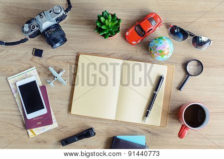 Outfit Of Traveler With Cup Of Coffee On Wooden Background