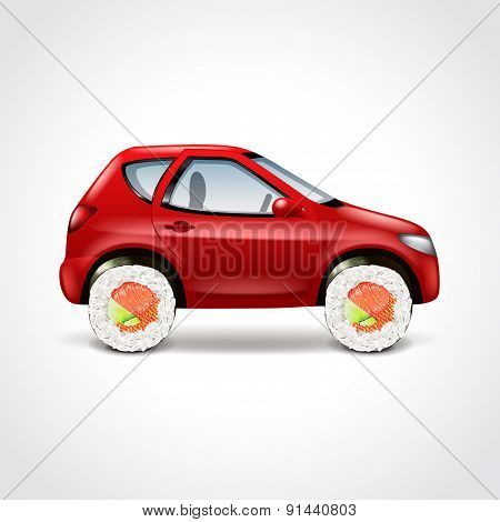 Sushi Delivery Car Concept Vector Illustration