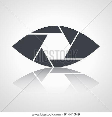 Shutter eye conceptual flat abstract vector icon
